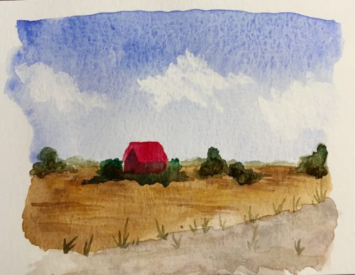 Painting of Texas country view.